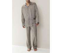 Herren Schlafanzug Pyjama, Seide, grau gemustert