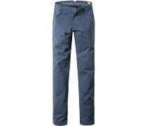 Herren Hose Chino Modern Fit Baumwoll-Stretch marineblau