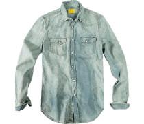 Herren Hemd Baumwolle blau-mintgrün