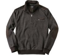 Herren Sweatshirt Baumwoll-Mix dunkel meliert