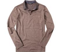 Herren Polo-Shirt Baumwoll-Trikot -offwhite meliert