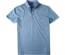 Herren Polo-Shirt Modern Fit Baumwoll-Jersey blau