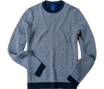Herren Pullover Modern Fit Baumwolle marine-weiß
