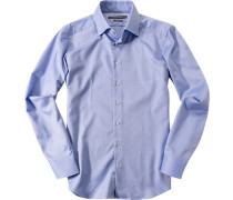 Herren Hemd Shaped Fit Baumwolle royal meliert blau