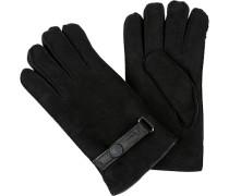 Herren Handschuhe, Schaf-Veloursleder, schwarz