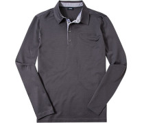 Herren Polo-Shirt Baumwoll-Jersey grau gemustert