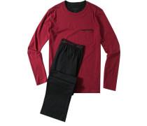 Herren Schlafanzug Pyjama Baumwolle rubinrot-schwarz