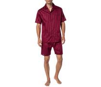 Herren Schlafanzug Pyjama, Baumwolle, bordeaux rot