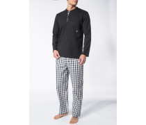 Herren Schlafanzug Pyjama Baumwolle schwarz-weiß kariert
