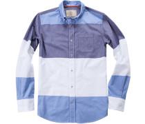 Herren Hemd Oxford himmelblau-weiß gestreift
