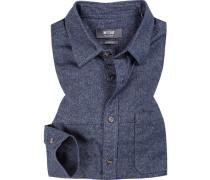 Herren Hemd, Slim Fit, Flanell, blau