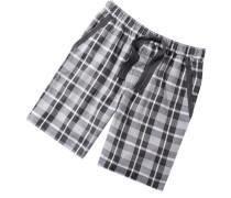Herren Schlafanzug Pyjamashorts Baumwolle schwarz-weiß kariert