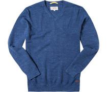 Herren Pullover Baumwolle jeansblau meliert