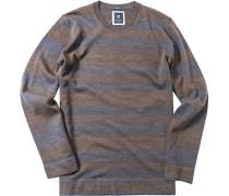Herren Pullover Modern Fit Schurwolle braun-blau gestreift