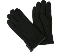 Herren Handschuhe, Ziegen-Veloursleder, schwarz