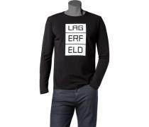 Herren Langarmshirt Baumwolle schwarz
