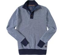Herren Pullover Troyer Baumwolle -weiß meliert
