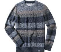 Herren Pullover Baumwolle -braun gestreift
