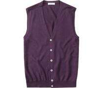 Herren Pullover Weste Schurwolle purpur violett