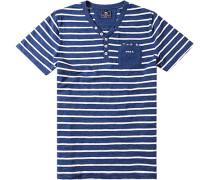 Herren T-Shirt, Baumwolle, navy-ecru gestreift blau
