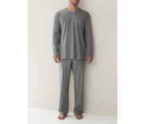 Herren Schlafanzug Pyjama, Baumwolljersey, grau