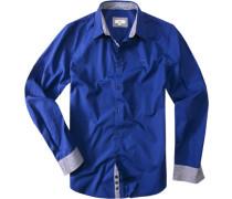 Herren Hemd Regular Fit Baumwolle royalblau