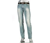Herren Jeans Regular Slim Fit Baumwoll-Stretch hellblau