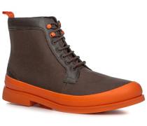 Herren Schuhe Stiefeletten Kalbleder-Canvas-Mix -orange