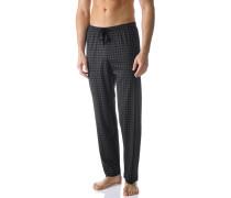 Herren Pyjamahose, Baumwolle, schwarz-anthrazit kariert