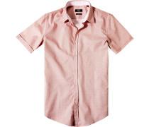 Herren Hemd, Slim Fit, Baumwolle, rot gemustert