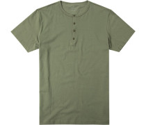 Herren T-Shirt Regular Fit Baumwolle khaki meliert