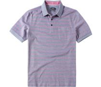 Herren Polo-Shirt Baumwoll-Piqué rot-blau gestreift