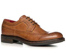Herren Schuhe Budapester Leder gebrusht cuoio beige,rot