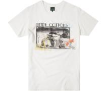 Herren T-Shirt Baumwolle weiß gemustert
