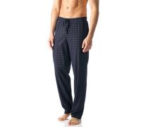 Herren Pyjamahose Baumwolle dunkelblau-weiß kariert