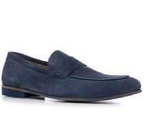 Herren Schuhe Loafers Veloursleder indigo blau