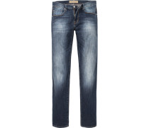 Herren Jeans Tapered Fit Baumwoll-Stretch indigo blau
