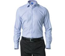 Herren Hemd Slim Fit Strukturgewebe blau gestreift
