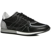 Herren Schuhe Sneaker Leder-Nylon-Mix nero schwarz,weiß