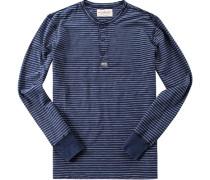 Herren T-Shirt Longsleeve Baumwolle indigo gestreift blau