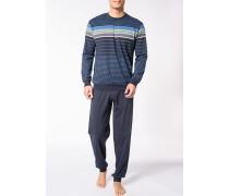 Herren Schlafanzug Pyjama Baumwolle navy-hellgrün gestreift blau