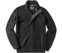 Herren Cardigan Woll-Mix anthrazit grau