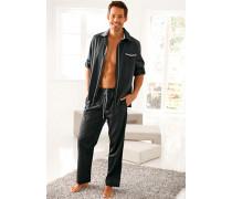 Herren Schlafanzug  Pyjama anthrazit grau
