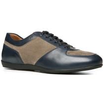 Herren Schuhe Sneaker Velours-Glattleder-Mix taupe-petrol blau,braun