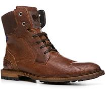 Herren Schuhe Stiefeletten, Kalbleder, cognac gemustert braun