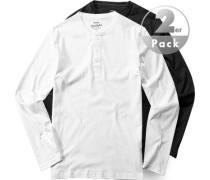 Herren T-Shirt Longsleeve Regular Fit Baumwolle black white schwarz