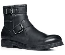 Herren Schuhe Stiefeletten Leder schwarz schwarz,grün