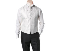 Herren Anzug Weste, Slim Line, Microfaser, creme-silber gemustert beige