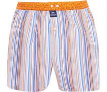 Herren Unterwäsche Boxershorts Baumwolle orange-blau gestreift