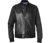 Herren Jacke Blouson Leder-Nylon-Mix schwarz schwarz,grau